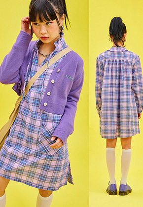 NEONMOON네온문 NEONMOON 19SP FRILL OPS - CHECK PURPLE