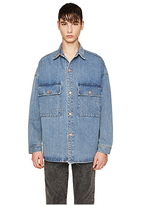 Lab101랩원오원 OZONE WASHING DENIM SHACKET