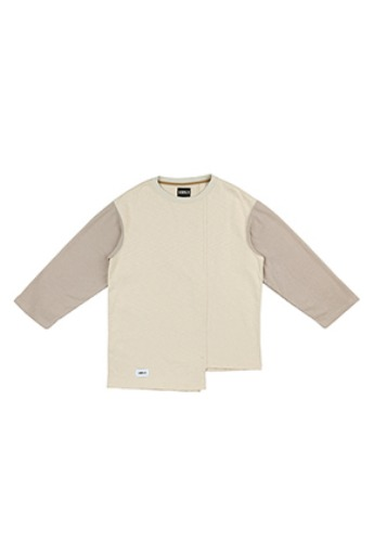 AJO BY AJO아조바이아조 Long Knit Sleeve T-Shirt [Beige]