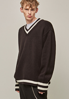 Yan13얀써틴 RIB ST OVER SIZE KNIT_BLACK