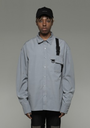 De-Nage드네이지 Pocket Tech wear Over Shirt Light Gray