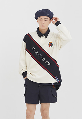 Romantic Crown로맨틱크라운 Logo Line Polo Shirt_Oatmeal