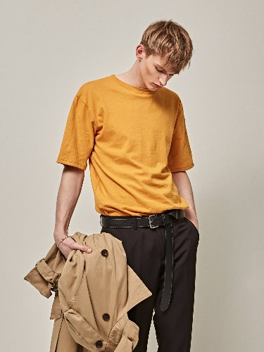 Yan13얀써틴 COTTON HALF SLEEVE T-SHIRTS_MUSTARD