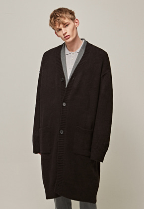 Yan13얀써틴 OVER SIZE KNIT LONG CARDIGAN_BLACK
