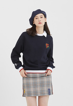 Romantic Crown로맨틱크라운 E.D.V Collar Crew Neck_Navy