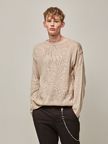 Yan13얀써틴 NATURAL ROUND KNIT_LIGHT BEIGE