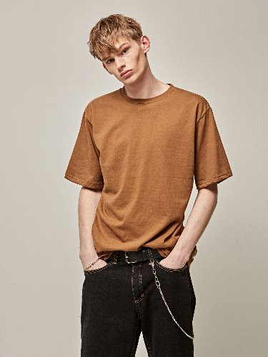 Yan13얀써틴 COTTON HALF SLEEVE T-SHIRTS_BROWN