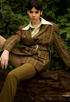 Anderssonbell앤더슨벨 LYLA ASYMMETRICAL CHECK BELTED BLAZER awa241w BROWN