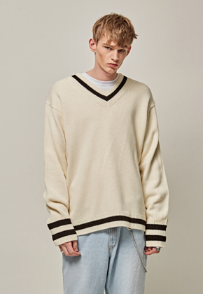 Yan13얀써틴 RIB ST OVER SIZE KNIT_CREAM