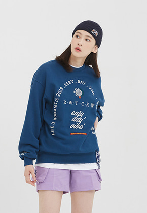 Romantic Crown로맨틱크라운 RMTCRW Studio Sweat Shirt_Blue
