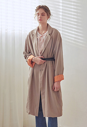 Yan13얀써틴 SEASON OVER LONG COAT+BELT SET_BEIGE