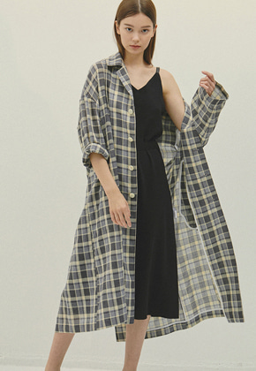 Haleine알렌느 GREY check mac coat(IJ033)