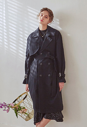 Yan13얀써틴 LOOSE DOUBLE TRENCH COAT_BLACK
