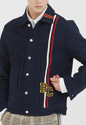 Romantic Crown로맨틱크라운 RC Double Line Trucker Jacket_Navy