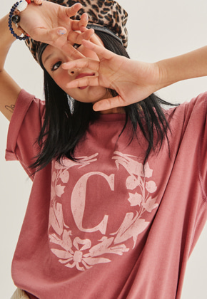Choisi쵸이지 Laurel Crown Short Sleeve, Coral Pink