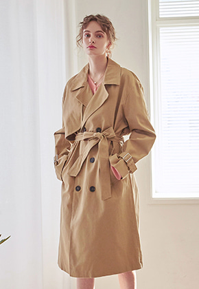 Yan13얀써틴 LOOSE DOUBLE TRENCH COAT_BEIGE