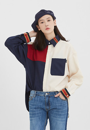 Romantic Crown로맨틱크라운 Color Block Shirt_Navy