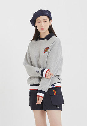 Romantic Crown로맨틱크라운 [3/20 예약발송]E.D.V Collar Crew Neck_Grey