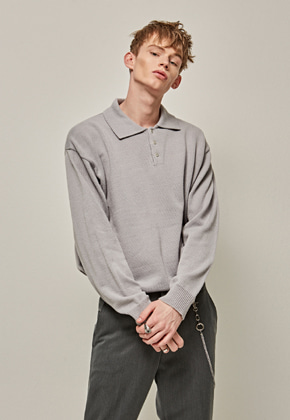 Yan13얀써틴 POLO LINE PULLOVER KNIT_GRAY