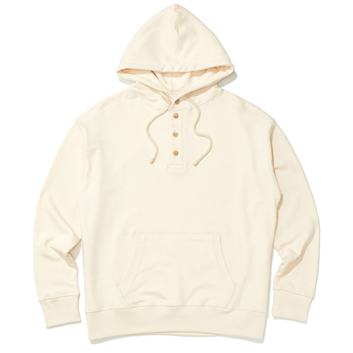 Henley neck hoodie (ivory)