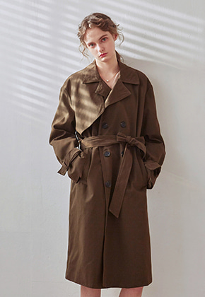 Yan13얀써틴 LOOSE DOUBLE TRENCH COAT_KHAKI
