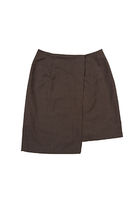 AJO BY AJO FINK LABEL Unbalance Tailored Skirt [Brown]