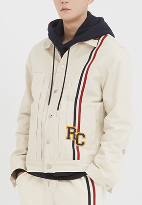 Romantic Crown로맨틱크라운 RC Double Line Trucker Jacket_Oatmeal