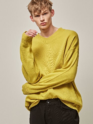 Yan13얀써틴 OVER SIZE COLOR V-KNIT_GREEN YELLOW