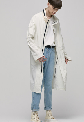 Haleine알렌느 CREAM leather collar oversize M65 coat(IJ011)