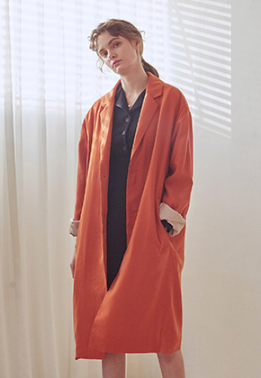 Yan13얀써틴 SEASON OVER LONG COAT+BELT SET_ORANGE