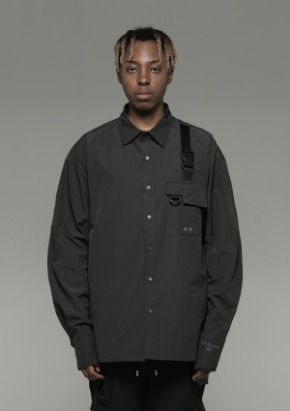 De-Nage드네이지 Pocket Tech wear Over Shirt Gray