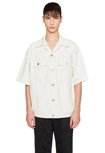 Lab101랩원오원 WHITE DENIM SHORT SLEEVE TRUCKER JACKET