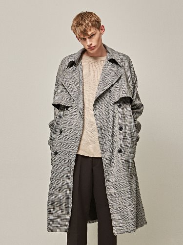 Yan13얀써틴 LONG FLAP TRENCH COAT_GRAY