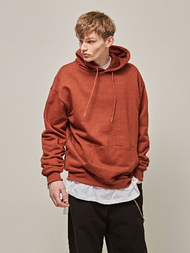 Yan13얀써틴 SOLID OVER DROP HOODY_BRICK