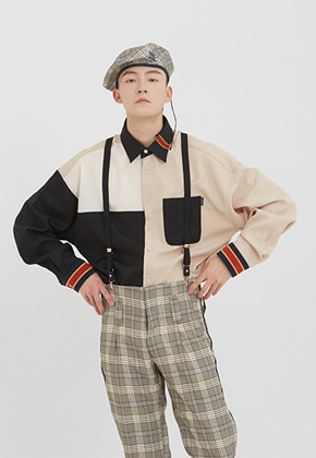 Romantic Crown로맨틱크라운 Color Block Shirt_Black