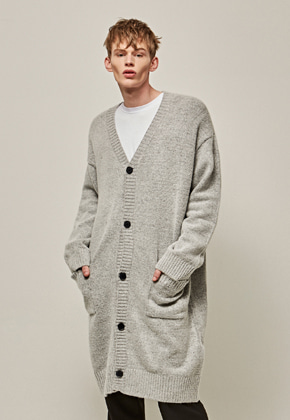 Yan13얀써틴 OVER SIZE KNIT LONG CARDIGAN_GRAY