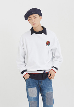 Romantic Crown로맨틱크라운 E.D.V Collar Crew Neck_White