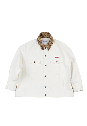 AJO BY AJO FINK LABEL Leopard Denim Trucker [White]
