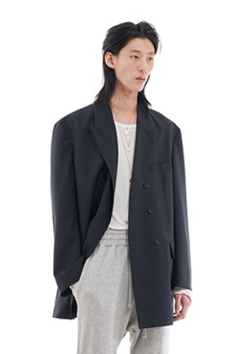 Vuiel뷔엘 DOUBLE BRESATED OVERSIZED BLAZER _ CHARCOAL