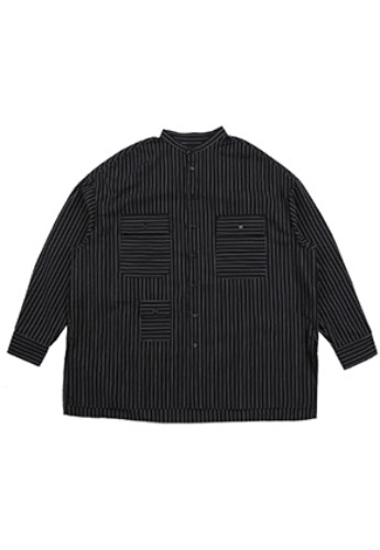 AJO BY AJO아조바이아조 Stripe Tri Pocket Seersucker Shirt [Black]