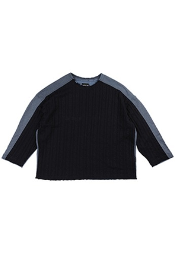 AJO BY AJO아조바이아조 Oversized Knit and Sweat Shirt [Navy]