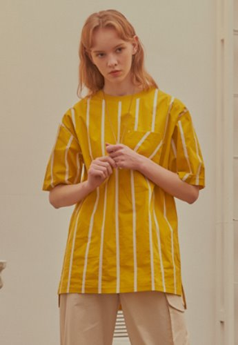 INNER CITY AUDIO이너시티오디오 STRIPE POCKET T-SHIRT YELLOW