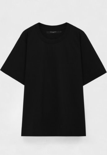 Evan Laforet에반라포레 KNIT NECK OVERSIZED T-SHIRT BLACK