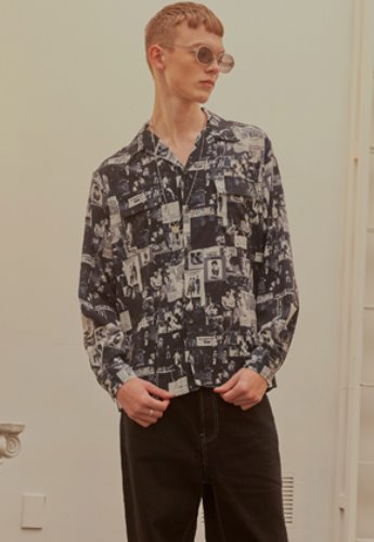 INNER CITY AUDIO이너시티오디오 (FAMILY EVENT) MOVIE PRINT OPEN COLLAR SHIRTS