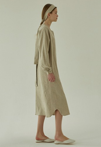 More or Less모어올레스 LINEN ROBE DRESS - BEIGE