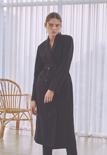 Deans딘스 [DEANS] DOUBLE LINE LONG COAT_BLACK