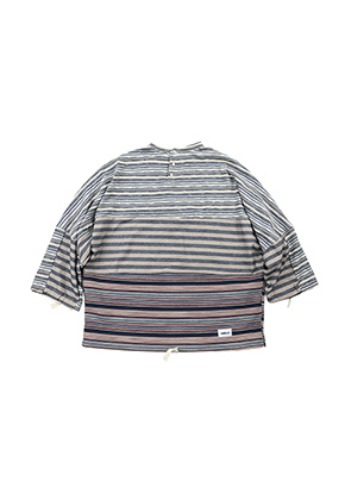 AJO BY AJO아조바이아조 Tri Stripe Henly Neck Sweater [Blue]