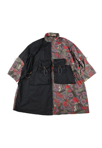 AJO BY AJO아조바이아조 Oversized Twofold Pancho [Charcoal]