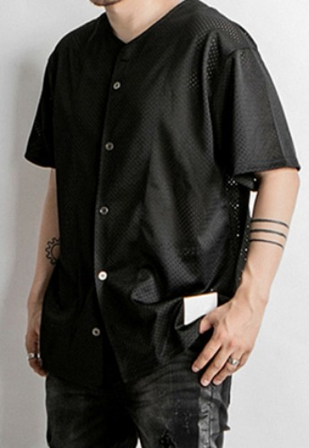 OMERTA오메르타 OMERTA Baseball Set Mesh Shirts Black