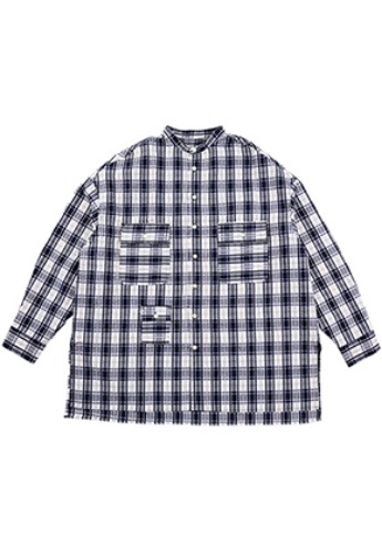 AJO BY AJO아조바이아조 Check Tri Pocket Seersucker Shirt [Navy]